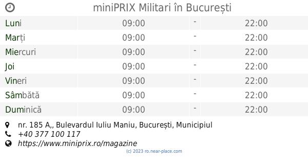 Programul De Lucru Miniprix Militari București Nr 185 A